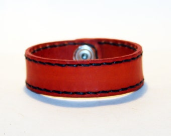 Orange Leather Cuff Bracelet! Nice gift for women!Orange wrist cuff! Bracelet wof women! Bracelet for men.