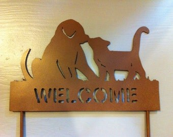 Dog And Cat Welcome Garden Stake