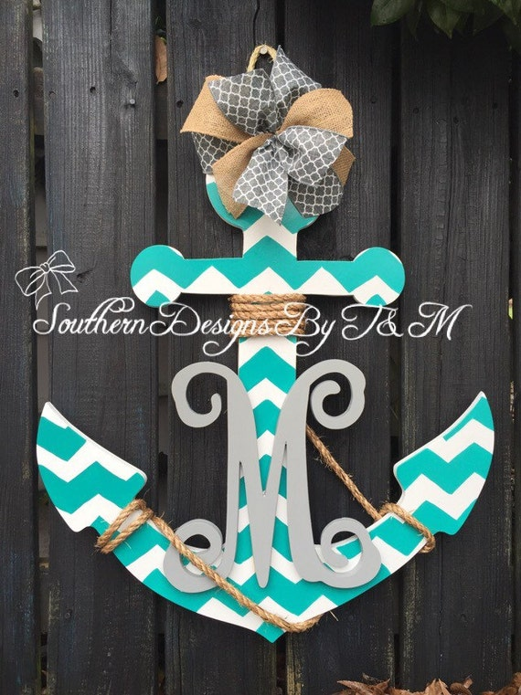 Like this item? & Beautiful wooden Anchor door hanger/ wall art with initial Pezcame.Com
