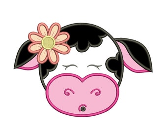 Girl Cow With Big Flower Machine Embroidery Applique Design Digitized Pattern - Instant Download
