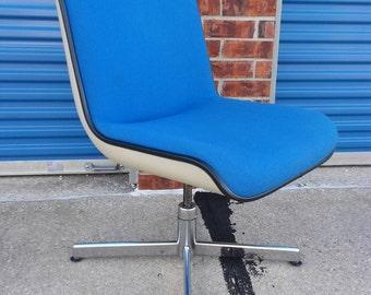 Retro croydon mid century modern blue and white office swivel desk chair vintage chrome eames era