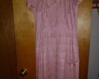 50s Lace Sheath Dress M
