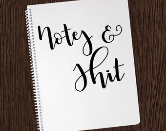 Notes & Sh*t Notebook - Small Personalized Wire-O Notebook - Hand lettered Notebooks