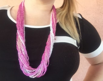 Hand Made Pinks and Pearls Beaded Necklace