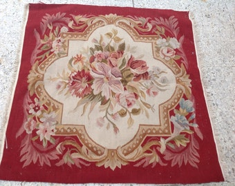 Antique french Aubusson tapestry original hand made wall hanging floral