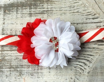 READY TO SHIP. Candy Cane Headband.  Red and White Christmas Headband.  Baby's 1st Christmas Headband.