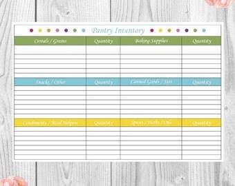 Pantry Inventory List, Home Binder, Menu Planning, Printable PDF