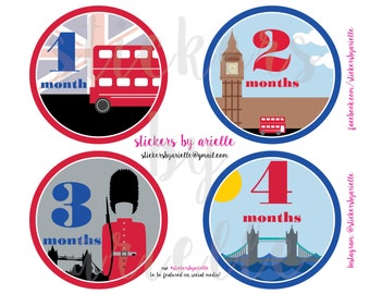 Month by Month Baby Stickers - London Theme