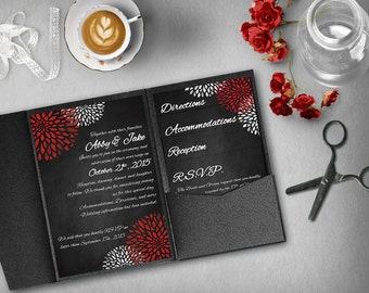 black red wedding invitation template invitation suite wedding invitation pocket template diy
