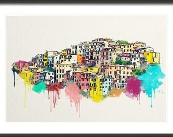 Cinque Terre - Corniglia -  Italy - Colorful Watercolor - Art Print - Travel Art Print - Multiple Sizes