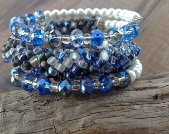 Crochet bracelet, memory wire bracelet, crochet rope jewelry, blue bracelet, crochet jewelry, beaded bracelet, crochet beaded jewelry