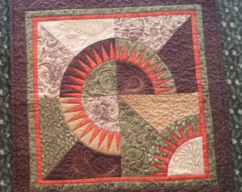 Quilted Paper-Pieced Wall Hanging - Evening Sunset - Handmade