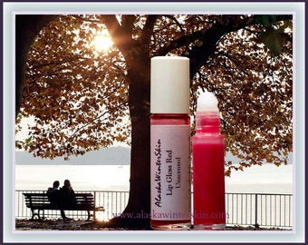 Roll-On Lip Gloss Red add your Flavor, with Calendula, Chamomile, Elderflower