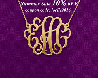 Gold Monogram necklace, monogrammed gifts, monogrammed jewelry - 925 Sterling silver 18k Gold Plated