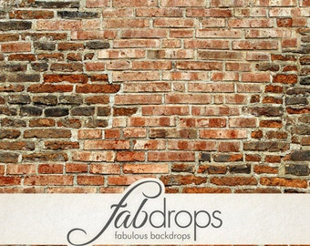 5x5 Old Red Brick Wall Backdrop / Old brick wall Photography backdrop - Fab Vinyl 5x5 ft (FV0909)