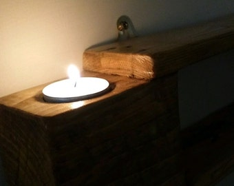 Reclaimed pallet wood shelf  with candles