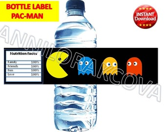 PAC-MAN, pacman, video game bottle labels party, printable, decor, digital file, Favor Tags, You Print, The Best printables for you! 60%OFF
