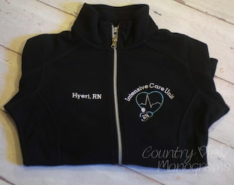 Intensive Care Unit ICU BLOCK  Nurse Fleece Jacket with Name on Right chest-Rn zipup light or heavy weight fleece jacket with several colors