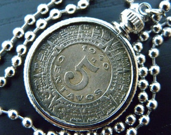 Authentic  circulated old Mexican coin 5 centavos Aztec calendar stone necklace solid silver or stainless silver chain