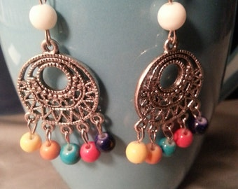 Multi-color Filigree Chandelier Earrings