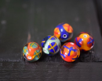 Round Handmade Lampwork Glass Beads, 5pcs