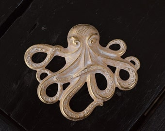 Large Gold Octopus Pendant, Made in the USA, 1pcs