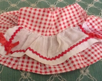 Lovely Vintage Red Checked Doll Dtress