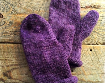Womens purple wool mittens - warm mittens - Womens mittens - purple mittens - rustic handmade mittens - hand knit - gift for coworker