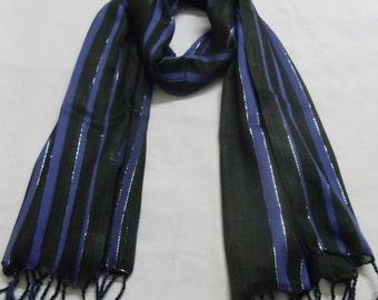 Blue revival stripe silk scarf