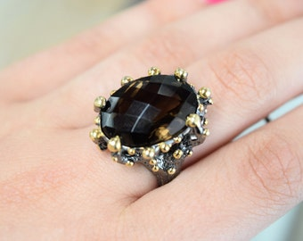 Smokey Quartz // One of a Kind Ring // Sterling Silver // Size 7