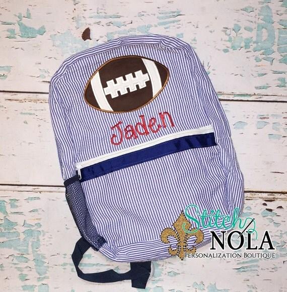 Seersucker Backpack with Football, Seersucker Diaper Bag, Seersucker School Bag, Seersucker Bag, Diaper Bag, School Bag, Book Bag, Backpack