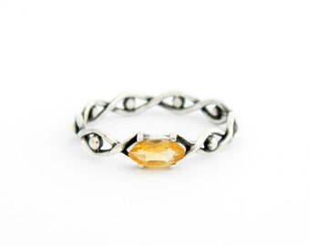 Silver ring with Citrine, sterling silver citrine ring, silver ring citrine, citrine ring