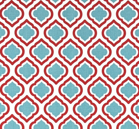 geometric blue red fabric by the yard designer home decor fabric cotton drapery curtain or