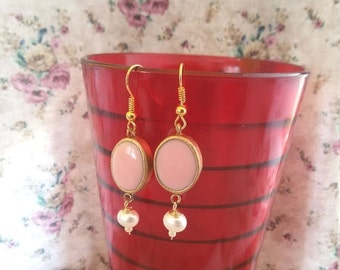 SUMMER SALE. Pink dangle earrings. pink and gold earrings. oval earrings. pearl earrings. bridemaid earrings