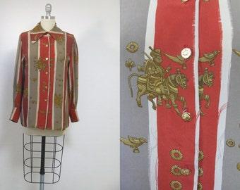Vintage aztec top, vintage aztec print, vintage tribal blouse, tribal top, long sleeve blouse, buttoned blouse, tribal fabric, vintge top