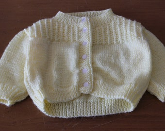 Yellow Knit Button Up Baby Sweater