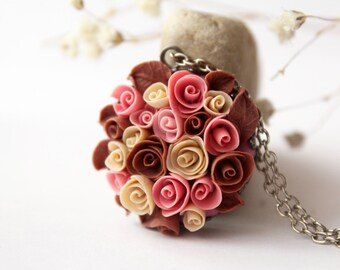 Dusty pink rose necklace, pale pink, romantic necklace, gift for her, brown pink necklace, bridesmaid necklace, polymer clay roses