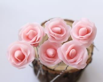 Bridal pink hair pins, bridal hair flowers, pink rose pin, rose flower hair clip, rose hair pin, wedding Bridal Hair piece, woodland wedding