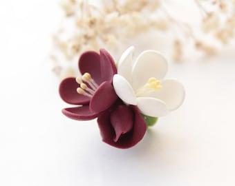 Cherry blossom ring, dark red, white flower ring, romantic ring, tender blossom, sakura ring, adjustable ring, Cherry wedding, gift for her