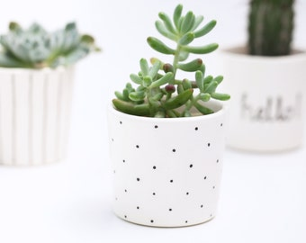Succulent Planter // Small Plant Pot // Black and White // Polka Dot // Minimalist Scandinavian Design