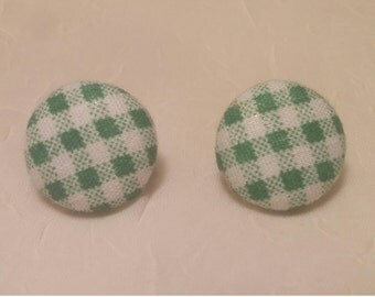 Green & White Fabric Button Earrings | Lines | Plaid | Fabric | Studs