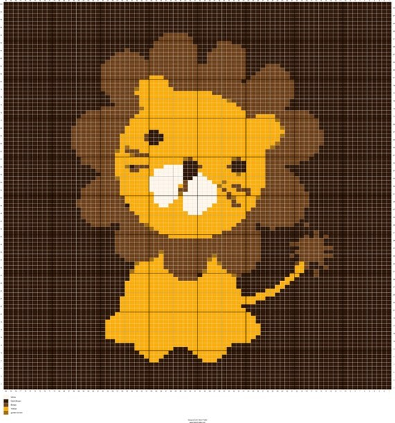 Knit Baby Lion Graph Knitting Chart Intarsia Knitting Baby