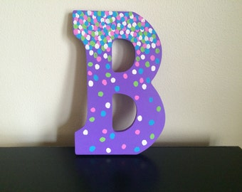 Wooden Polka Dot Letter B to Hang