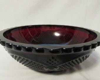 AVON 1896 Cape Cod Collection, Serving Bowl, Ruby Red Glass, 1970's