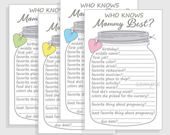 who knows mommy best baby shower game printable diy cell phone mason