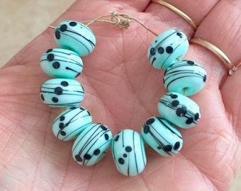 Mint  black  beads  handmade lampwork glass bead
