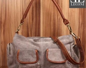 LECONI shoulder bag Tote purse bag leather suede grey LE0047-VL