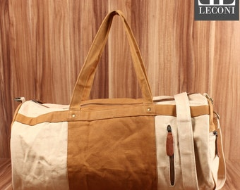 LECONI Weekender sports bag Holdall hand luggage leather of canvas beige LE2015-C