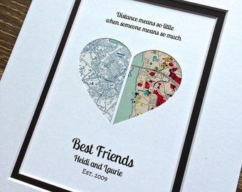 Long Distance Quote Gift - Christmas Gift For Best Friends- Long Distance Friendship Relationship Gift- Moving Away or Going Away Present