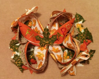 Orange Fall Bow, Green Leaf Bow, Happy Fall Boutique Bow, Orange Bow, TOP SELLER, Fall Boutique Bow, Autumn Bow, Give Thanks Bow